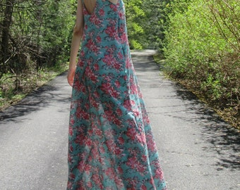 aloha - beautiful sky blue floral cotton print spaghetti strap festival boho hippie pocket maxi dress xs small