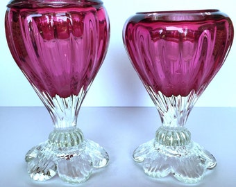 Signed Pair of Rossi Cranberry Glass Candle Holders, Candle Stands, Rare, Vintage