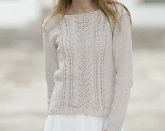 Light lace top with cables in merino and cotton