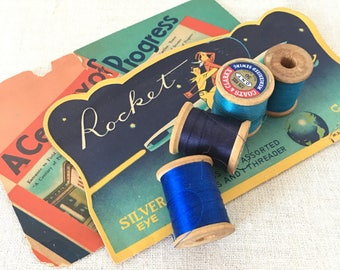 Wooden spools of thread blue green vintage craft supplies Qty 9