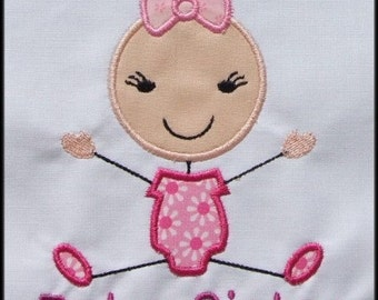 INSTANT DOWNLOAD Stick figures Baby Girl Baby Sister Mommy's girl Daddy's girl Applique designs
