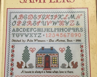 CROSS-STITCH SAMPLERS Better Homes and Gardnes 1986 Vintage Counted Cross Stitch Chart Pattern Book Hardback Hardcover