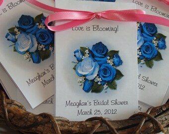 Blue Roses Bouquet Design w/ Wildflower Seed Packets for Bridal Shower Birthday Anniversary Wedding Flower Seeds Party Favors SALE