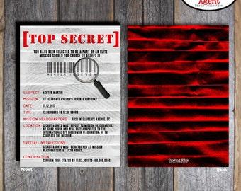 Spy Party - Secret Agent Party - Invitation & Wrap Around Address Labels - Customized Printable (Birthday Party Invite)