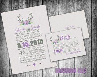 Rustic deer antlers with Typography Purple and Gray Wedding Invite & RSVP