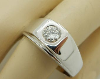 Solid Mens 14K White Gold 0.50ct G-SI1 Round Brilliant Diamond Solitaire Ring Sz 10.5; rvc ring