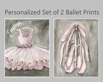 Girls Bedroom Decor Blush Ballerina Set Of 2 Custom Name Ballet Prints, Personalized Tutu, Pink Nursery Wall Art, 6 sizes 5x7 To 24 x 36