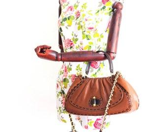 Vintage Moschino brown leather handbag