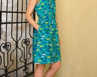 Organic summer dress Australia / organic cotton dress / natural handmade collared dress / green dress for her / bird print day dress
