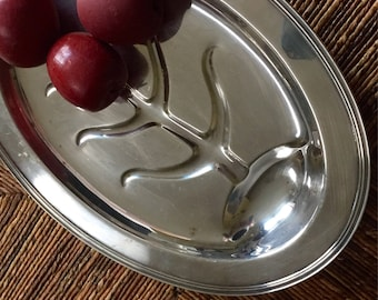"""Vintage Crescent Silver Co. Plated  Silver Oval Footed Meat Serving Platter Tray #4056 16.5"""" Long"""