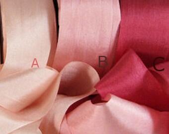 silk ribbon,Champagne, Mauve, Rose  vintage like silk ribbon,  simple, elegant ,wedding diy decor ,romantic