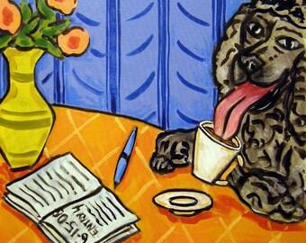 Black Poodle at the COffee Shop Dog Art Tile Coaster