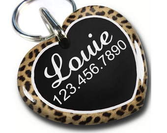Cute Heart Shaped tag Double sided Personalized Pet ID Tags