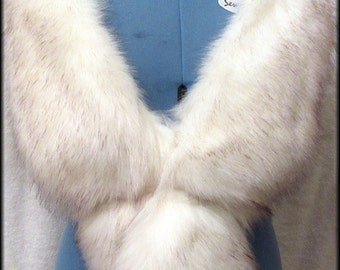 SOLD - Luxury Long Pile , Off White Faux Fur Stole