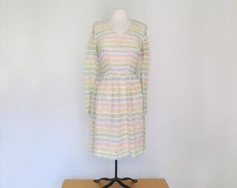 RAINBOW RIBBONS // 1960s pastel rainbow wiggle dress / S