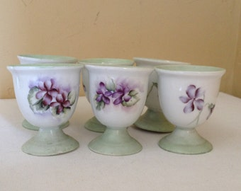 Vintage Lovely set of (6) Mint Green with Purple Flowers Egg Cups