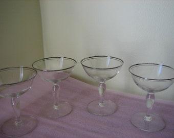 Vintage Crystal Stemware, Set Of 2 Champagne Coupes With Silver Rims - Crystal Champagne Coupes/Wine Glasses