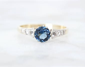 Antique Engagement Ring | Platinum and Yellow Gold | Blue Gem Solitaire Setting | Art Deco Jewelry | Unique Ring | Two Tone Ring | Size 7.25
