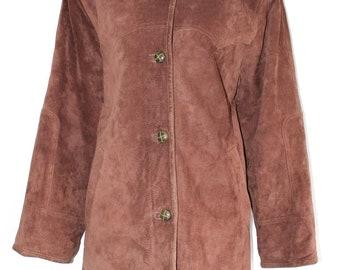 Vintage Brown 100% Real Suede SINCLAIR By KAPPAHL Hip Length Women's Coat Jacket Size UK12 UK14