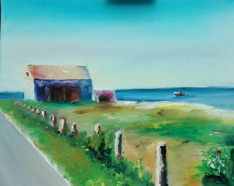 Beach in Denmark finger painting without brush 40 x 50 cm oil on canvas