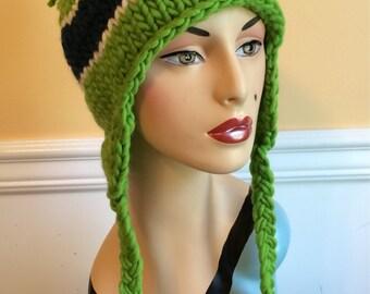 Seahawks Hat - Earflap Hat - Seattle Seahawks Hat - Wool Hat - Knit Hat - Hat - Seahawks Earflap Hat