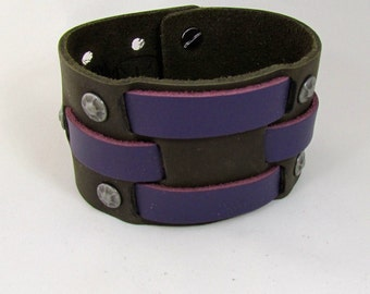Men's Gift or Women's Gift Leather Bracelet Cuff, Handmade Olive Green Top Grain Leather Woven with Purple Top Grain Leather