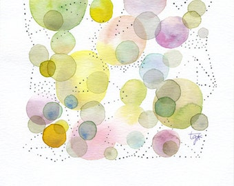 Original dot watercolor painting, Abstract, Contemporary art, Dot art, Dot painting, Watercolor dots, Circle, Geometric watercolor, Fine art