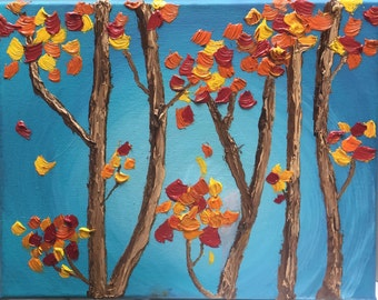 """7"""" x 5"""" Fall Leaves Oil Painting"""