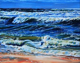 "Landscape Art Print - ""Surf 2 Study"", Limited Edition Giclee Print on Fine Art Paper of ocean shoreline, 12"" x 9"""