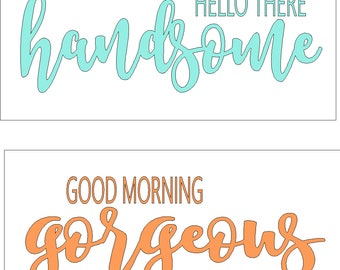 Set of hello there handsome and good  morning gorgeous vinyl lettering decals to each fit a 7 x 14 sign, come in choice of colors