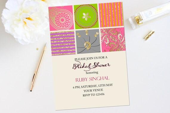 Mehndi invitations Bollywood invites Mehendi party invite