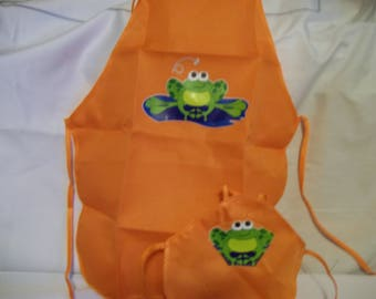"18"" doll and 2 child sized aprons"
