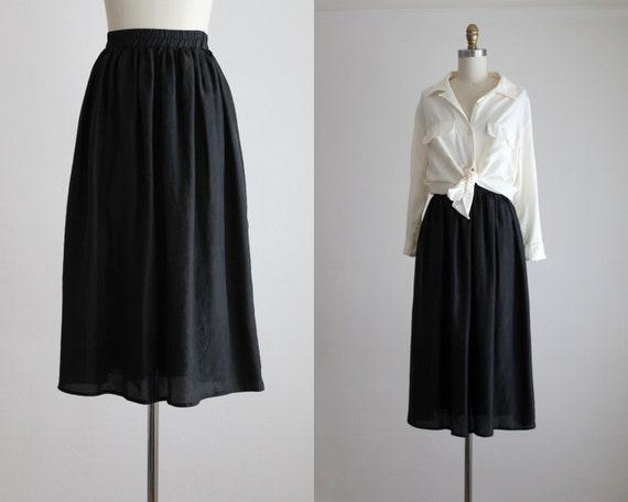 Ash Black Silk Midi Skirt by Etsy