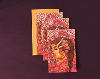 3 x Queen card with envelopes