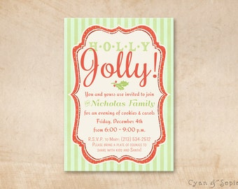 Printable Christmas Holiday Party Invitation - 5x7 - Holly Jolly - Red Lime Green Stripe Modern Retro Typography Script Scrapbook