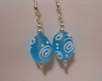 Bright Blue Lampwork Glass Beaded Earrings Item No. 428
