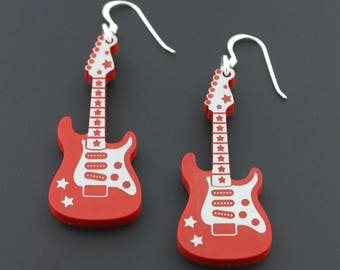 Rockin' Red Electric Guitar Sterling Silver Earrings by Supertash