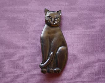 Cat Pewter Pin, Seagull Pewter Pin, Cat Brooch Pin, Signed Vintage 80s Pin