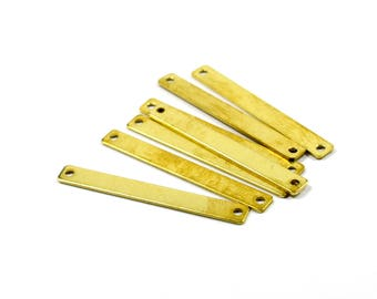 20 Pcs. Raw Brass 5x40 mm  (20 Gauge , 0.8 mm Thick ) Rectangular 2 Hole  Bar Blanks