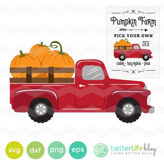 Pumpkin Truck Svg File Pumpkin Farm Sign Svg File Dxf Svg