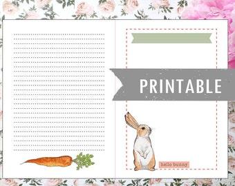 Printable journal page Bunny Friends (English)