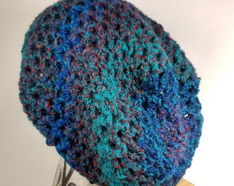 Blue green slouchy hat