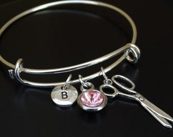 Scissor Bangle Bracelet, Adjustable Expandable Bangle Bracelet, Scissor Charm, Scissor Pendant, Scissor Jewelry, Sewing Bracelet, Seamstress