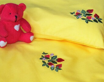 Baby Bedding Set 3pcs, Pure Cotton Bed Linen, Nursery Bedding Set, HANDMADE, Yellow, Strawberries Embroidery