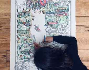 Card coloring - Annecy, around the Lake