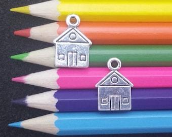 10 PCS - House Home Building Silver Charm Pendant C1462