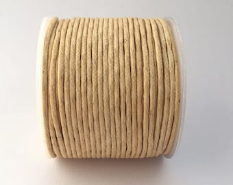 25 Meters of Round Wax Cotton Cord - Natural 2mm (700)