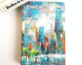 Vintage Delta Air Lines Deck of Playing Cards Featuring Chicago, 54 Card Deck (Full Set plus Two Jokers), Great Mid-century Style