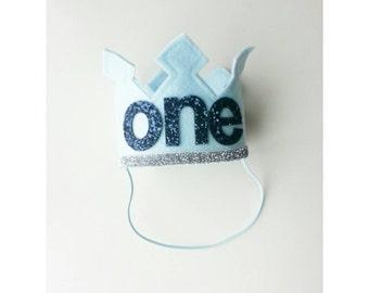 First Birthday Felt Crown | Ice Blue Metallic Navy Birthday Party Hat | Cake Smash | 1st Birthday | Birthday Crown