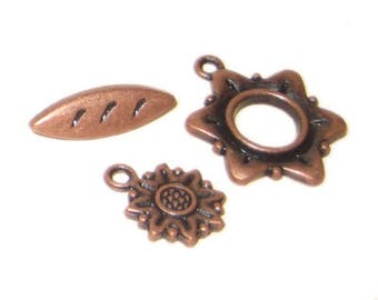 20 x 18mm Copper Toggle Clasp, plus Charm